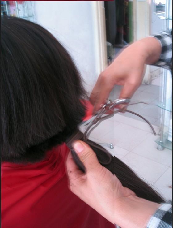 description she has floor length hair the ponytail is very